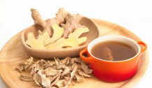 Ginger tea and ginger root ,fresh and dried herb