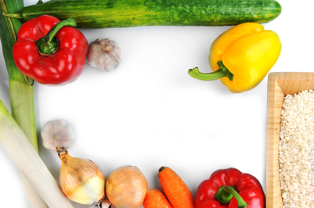 vegetables on white top view