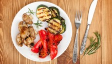 Grilled vegetables and silverware