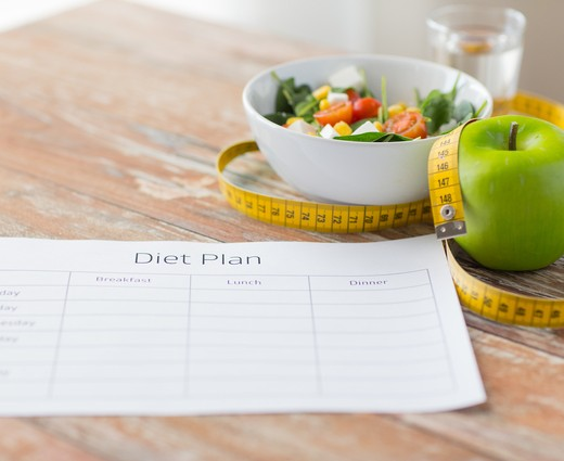 close up of diet plan and food on table